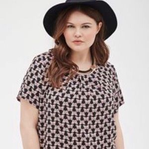 Forever 21 blue butterfly print blouse
